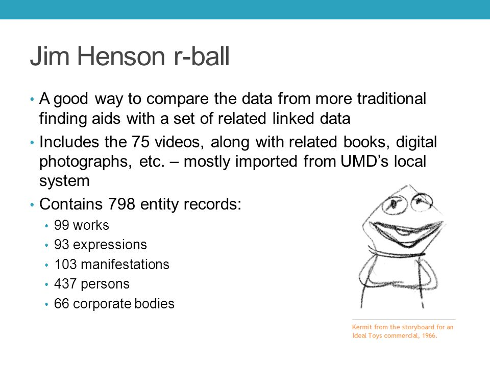 Jim Henson r-ball A good way to compare the data from more traditional finding aids with a set of related linked data Includes the 75 videos, along with related books, digital photographs, etc.