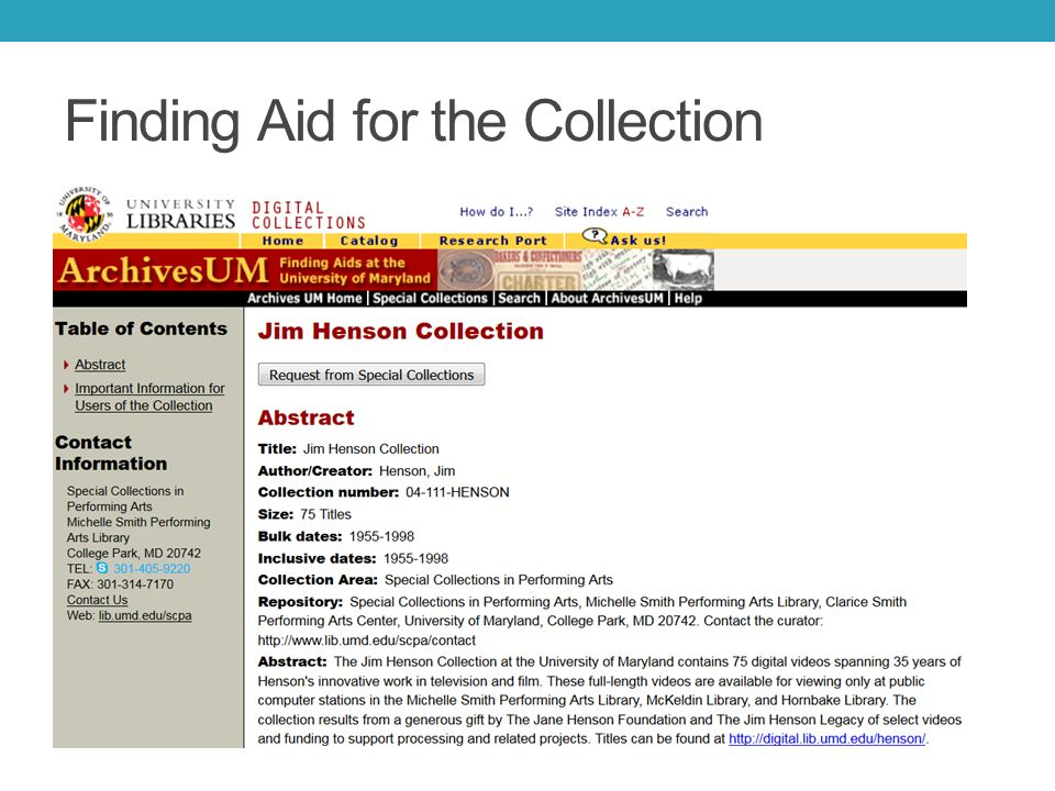 Finding Aid for the Collection