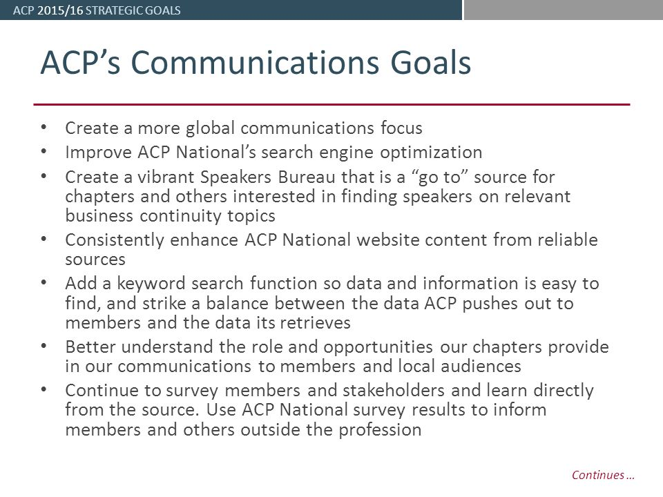 ACP 2015/16 STRATEGIC GOALS Association of Contingency Planners May /16 Strategic Goals. - ppt download - 웹