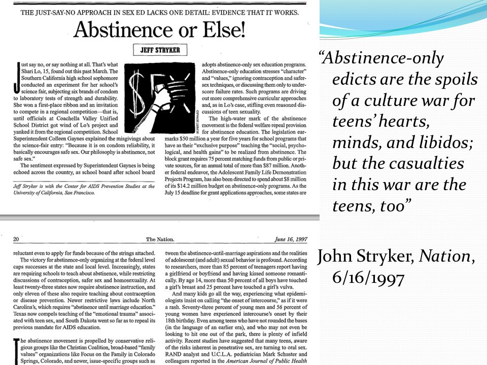 abstinence only vs comprehensive sex education I oppose abstinence-only sex education, because empirical data shows that it is not as effective as comprehensive sex education studies have shown that students who have experienced abstinence-only programs are no less likely than peers who have received more comprehensive sex ed to engage in sexual behavior.