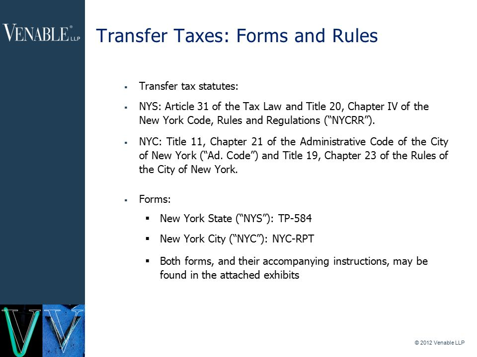 1 2012 Venable Llp New York State And City Real Estate Transfer
