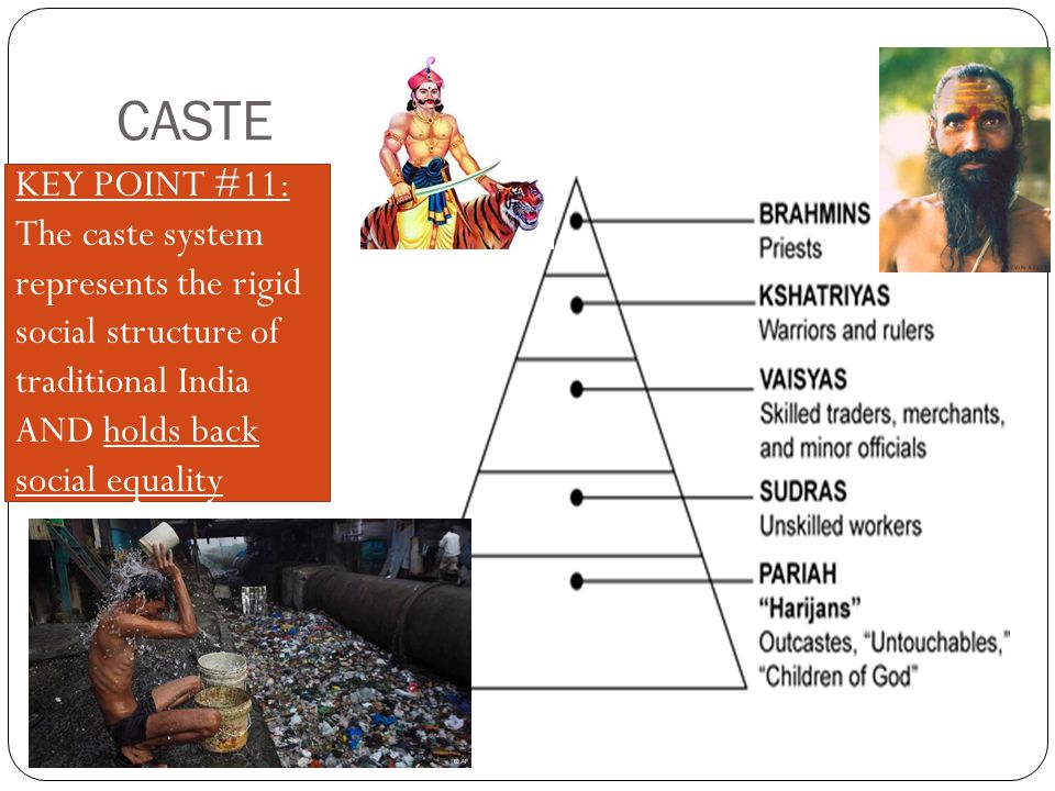 CASTE KEY POINT #11: The caste system represents the rigid social structure of traditional India AND holds back social equality