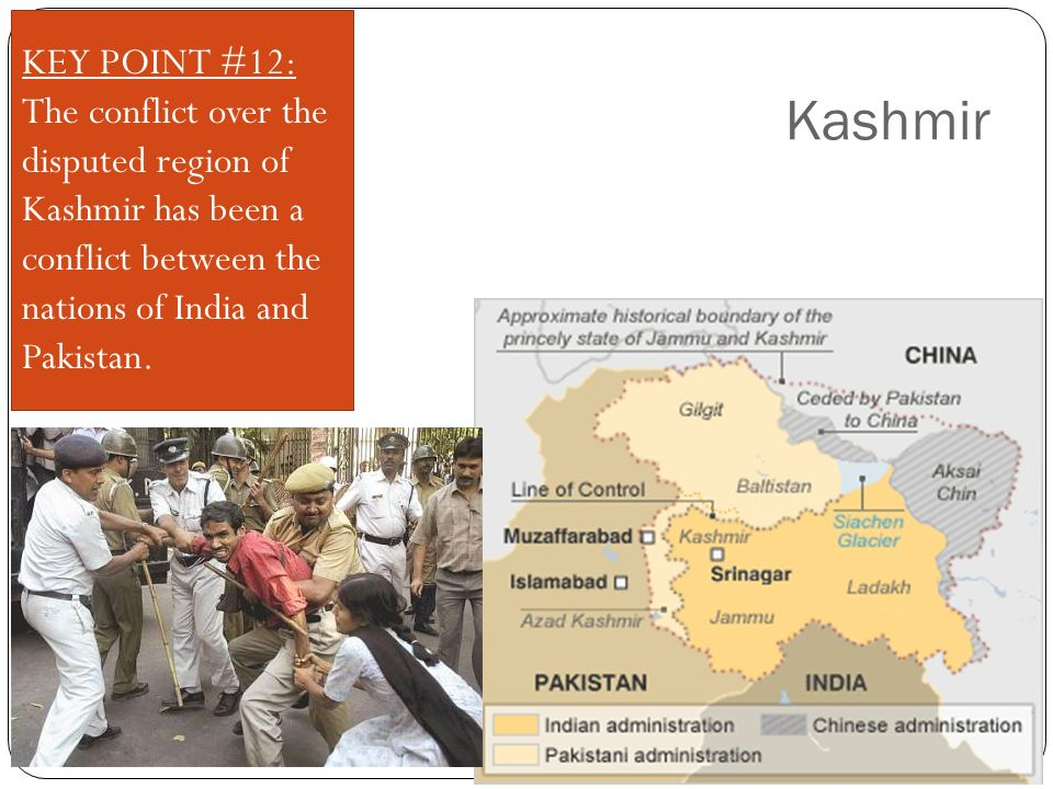 Kashmir KEY POINT #12: The conflict over the disputed region of Kashmir has been a conflict between the nations of India and Pakistan.