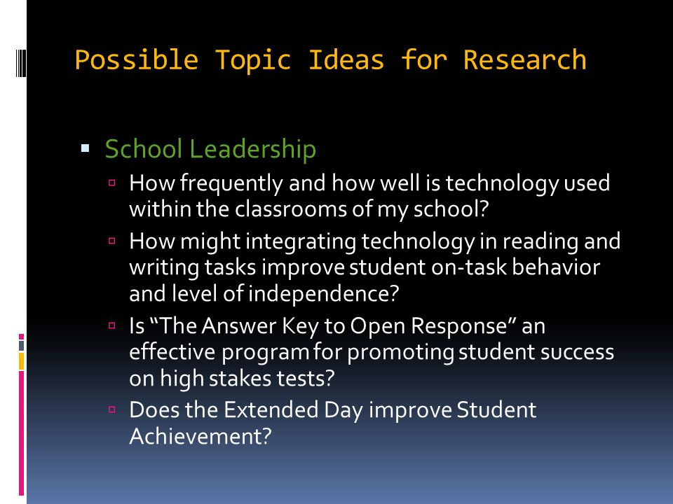 leadership research topic ideas