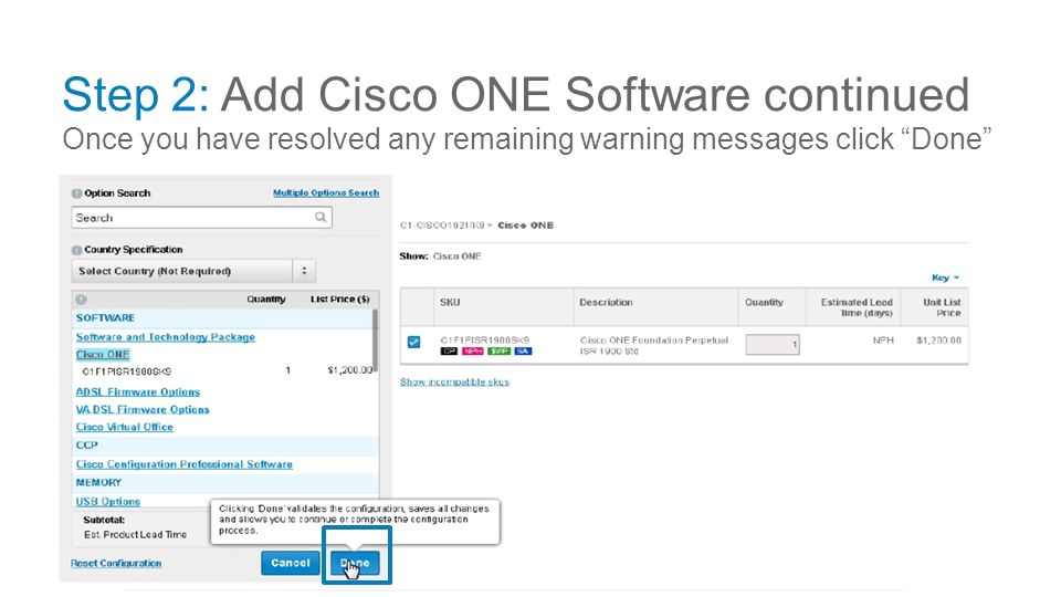Ordering - BoM Cisco ONE Software Duration: 1 5 hrs  - ppt