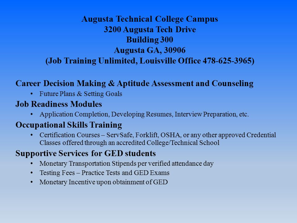 Job Training Unlimited Inc Workforce Investment And Opportunity