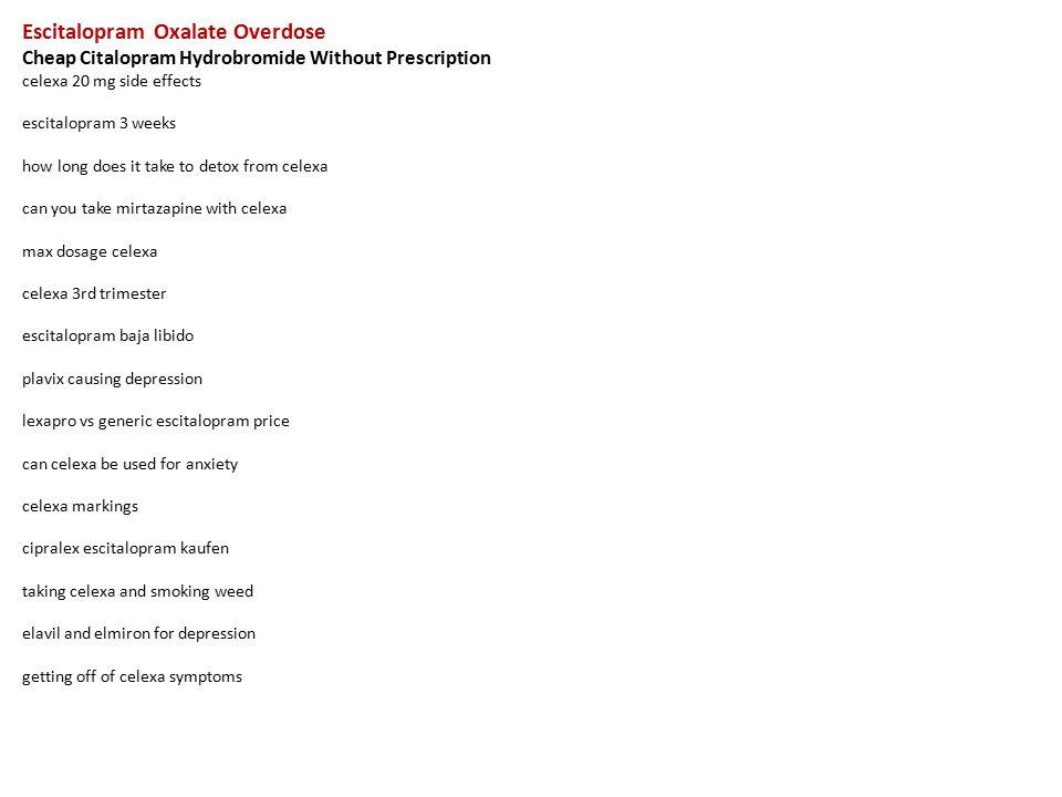 Escitalopram Oxalate Overdose Cheap Citalopram Hydrobromide