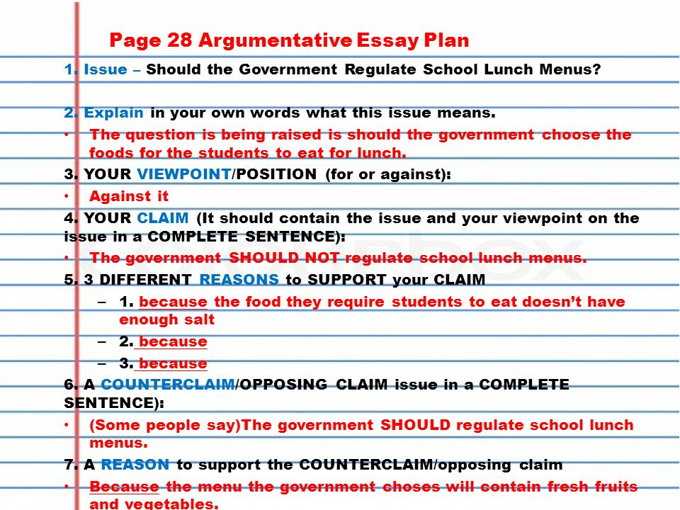 Homework  Copy In Agenda  Finish Counterclaim Research If  Page  Argumentative Essay Plan  Issue  Should The Government Regulate School  Lunch Menus