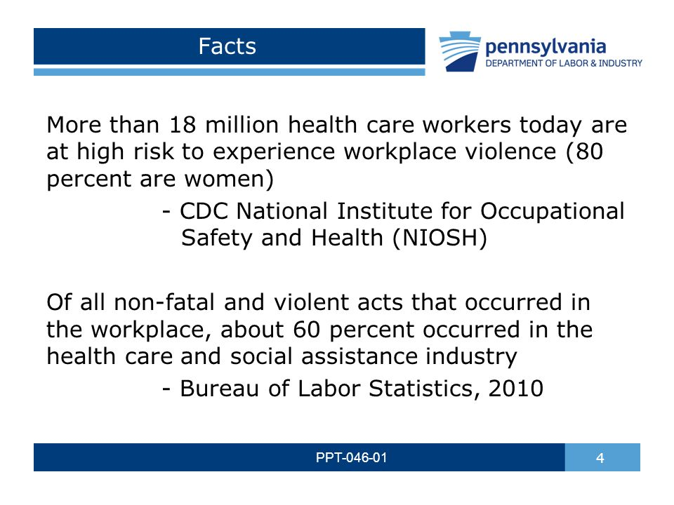 WORKPLACE VIOLENCE IN HEALTH CARE FACILITIES PPT PA Training for