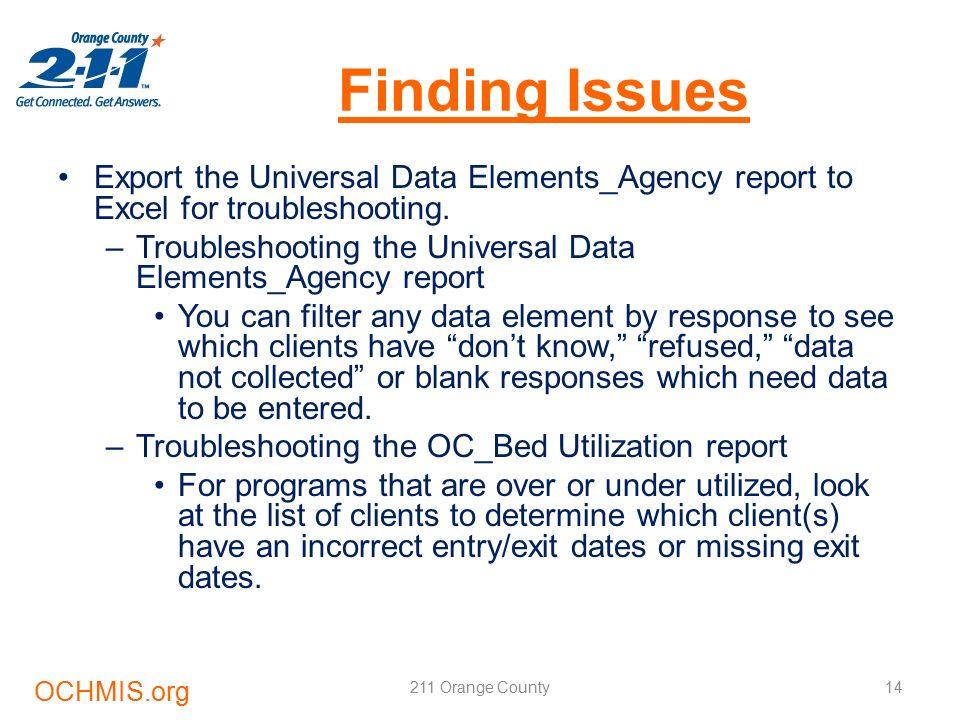 HMIS Data Quality Training 211 Orange County  Learning