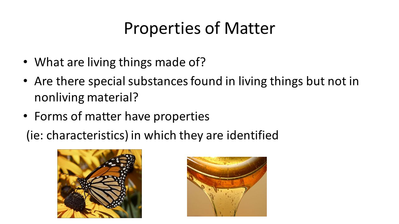 Properties of Matter What are living things made of.