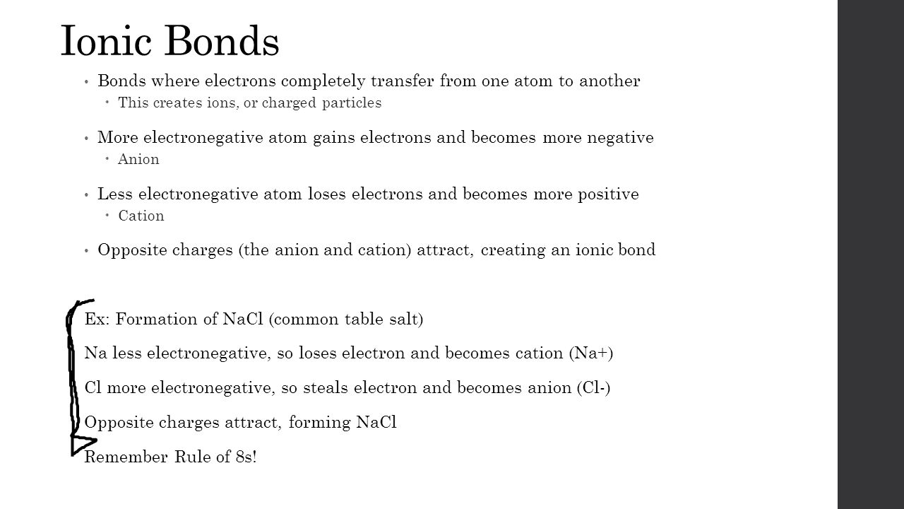 Ionic Bonds Bonds where electrons completely transfer from one atom to another  This creates ions, or charged particles More electronegative atom gains electrons and becomes more negative  Anion Less electronegative atom loses electrons and becomes more positive  Cation Opposite charges (the anion and cation) attract, creating an ionic bond Ex: Formation of NaCl (common table salt) Na less electronegative, so loses electron and becomes cation (Na+) Cl more electronegative, so steals electron and becomes anion (Cl-) Opposite charges attract, forming NaCl Remember Rule of 8s!