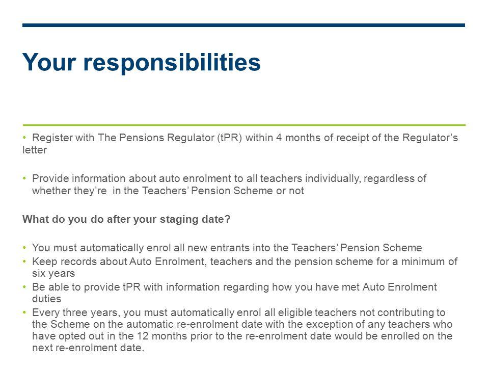 Auto enrolment v14 teachers pensions scheme contractual enrolment 6 your responsibilities spiritdancerdesigns Gallery