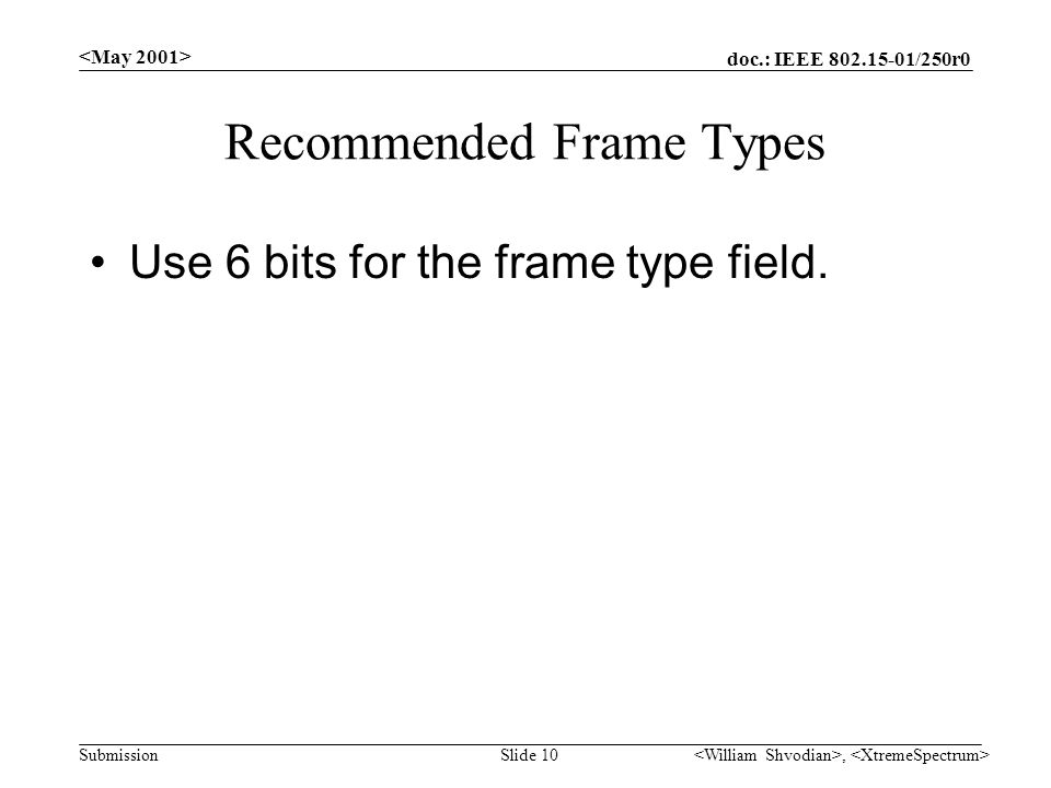 doc.: IEEE /250r0 Submission, Slide 10 Recommended Frame Types Use 6 bits for the frame type field.