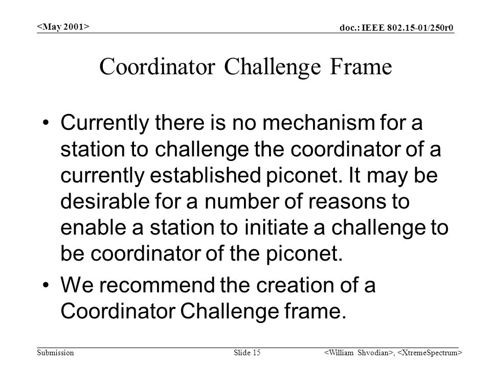 doc.: IEEE /250r0 Submission, Slide 15 Coordinator Challenge Frame Currently there is no mechanism for a station to challenge the coordinator of a currently established piconet.