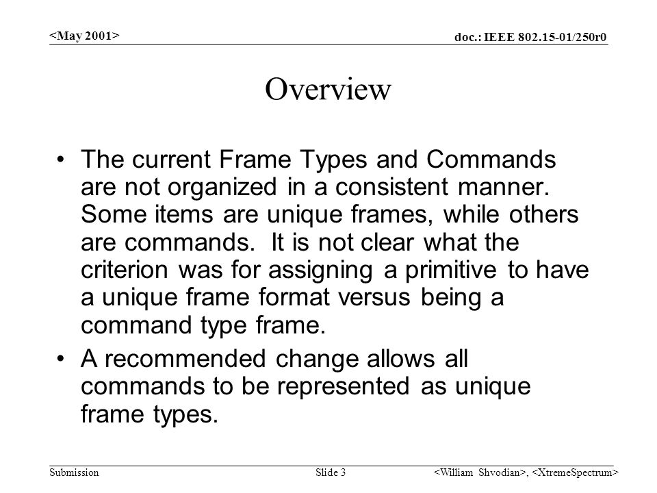doc.: IEEE /250r0 Submission, Slide 3 Overview The current Frame Types and Commands are not organized in a consistent manner.