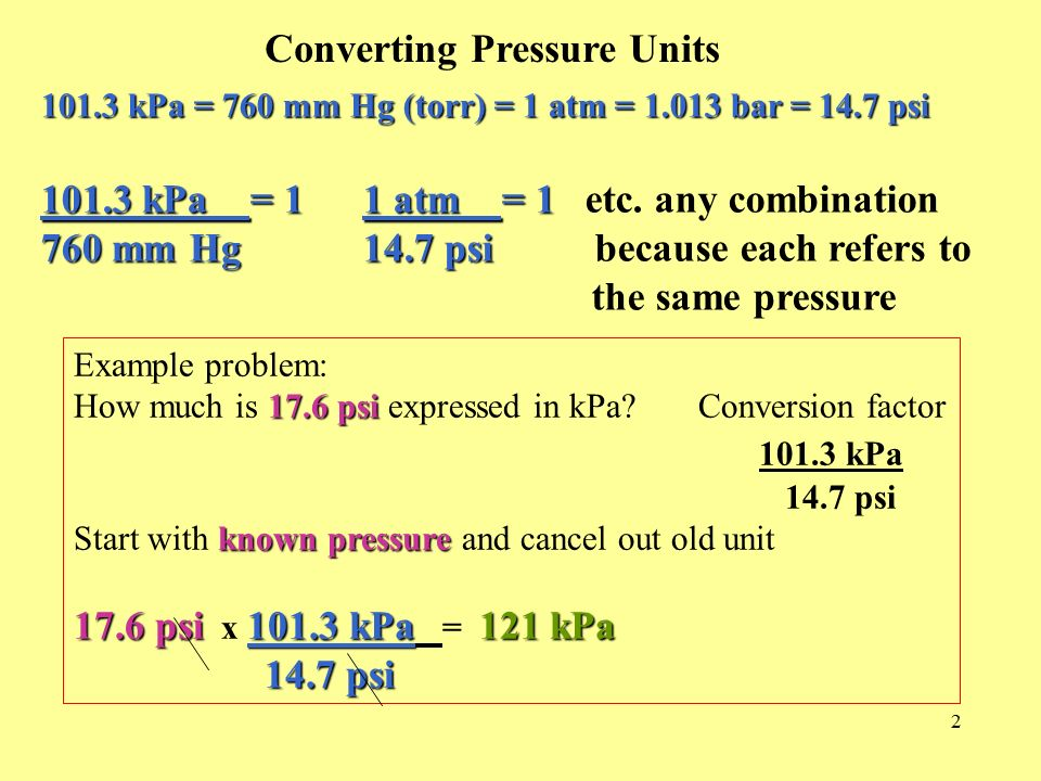 Chapter 13 Calculating Gases 1 Section 12 1 Pressure +