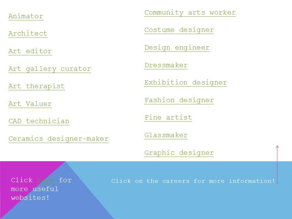 Careers In Art And Design Community Arts Worker Costume Designer Design Engineer Dressmaker Exhibition Designer Fashion Designer Fine Artist Glassmaker Ppt Download