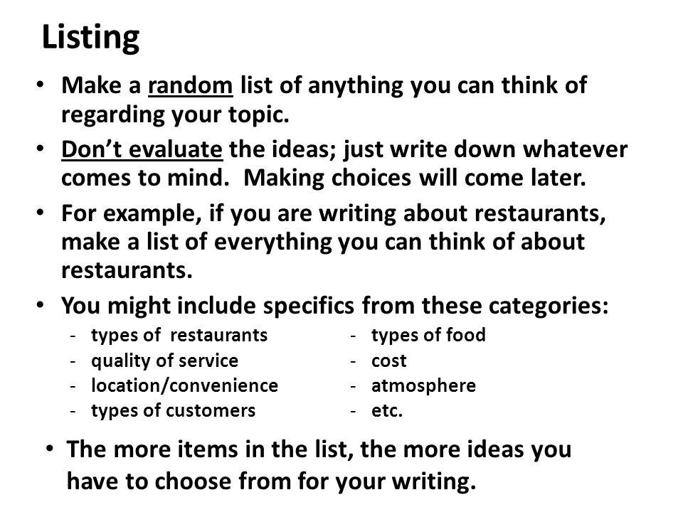 random writing ideas