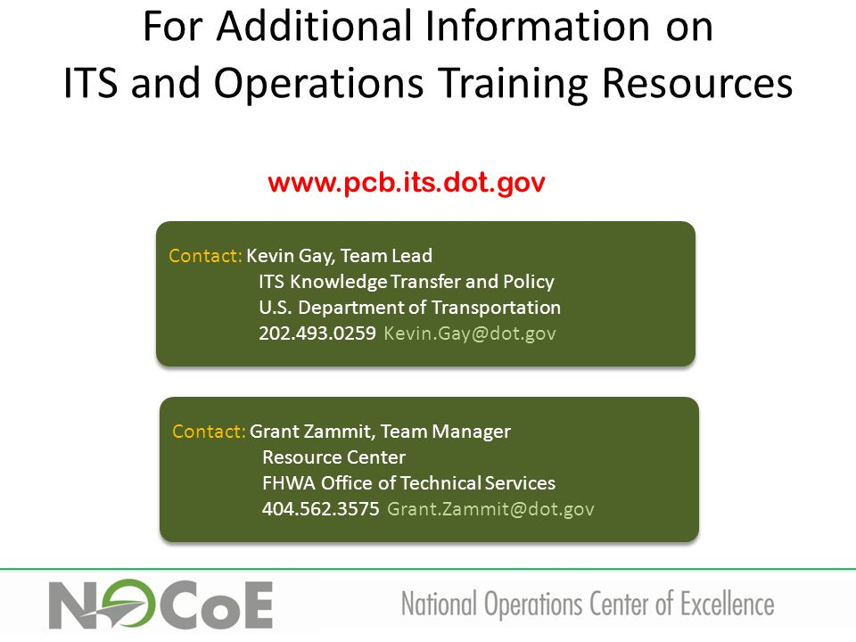 USDOT ITS and Operations Training Grant Zammit Operations