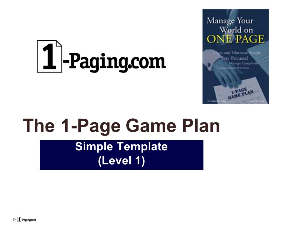 The Page Game Plan Simple Template Level Ppt Download - Game plan template