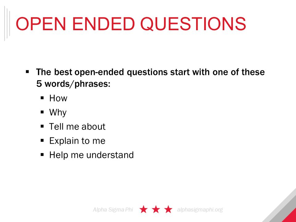 Open ended questions examples for hookup