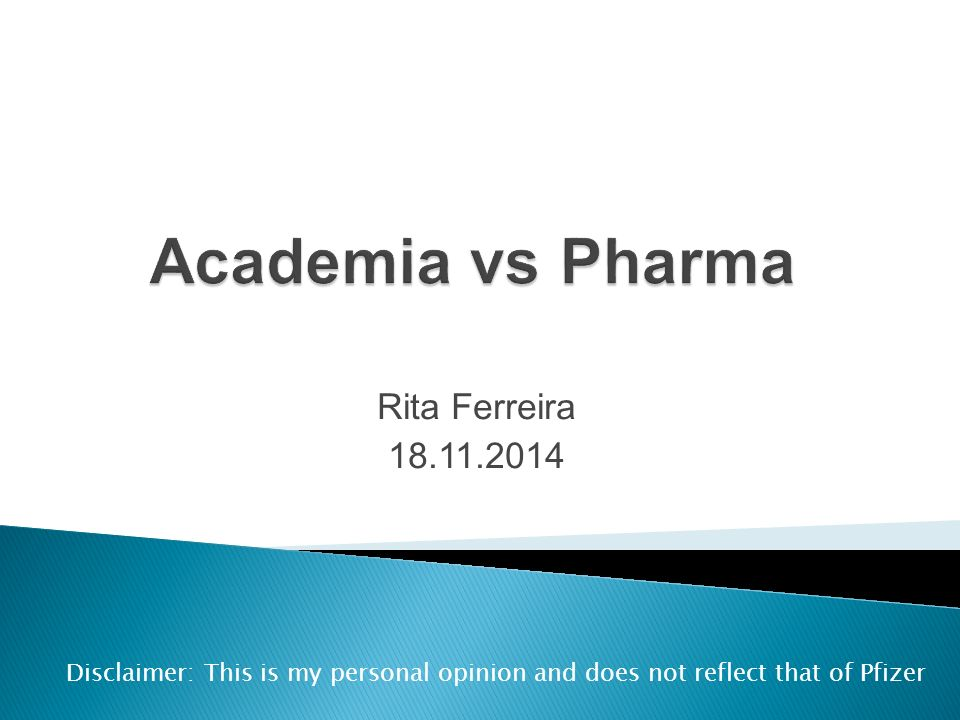 Rita Ferreira Disclaimer: This is my personal opinion and
