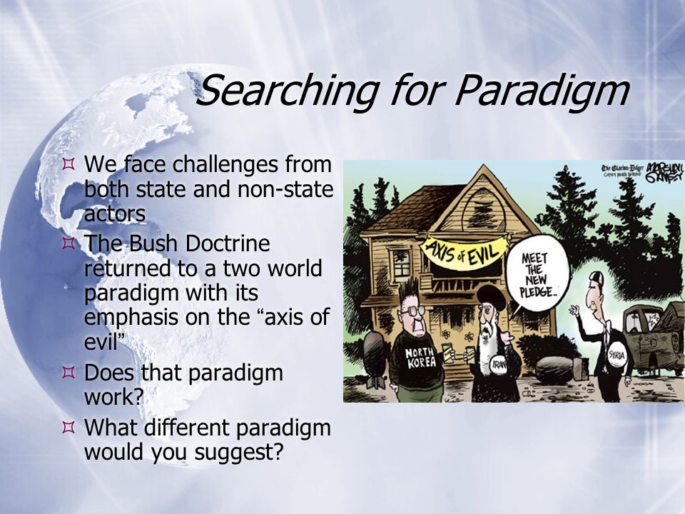 Searching for Paradigm  We face challenges from both state and non-state actors  The Bush Doctrine returned to a two world paradigm with its emphasis on the axis of evil  Does that paradigm work.