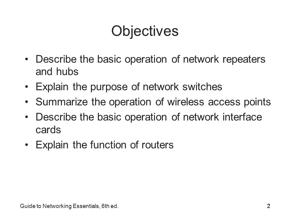 Guide To Networking Essentials 6 Th Ed Chapter 2 Network