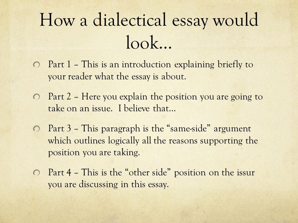 Thesis Statement Generator For Compare And Contrast Essay How A Dialectical Essay Would Look Part   This Is An Introduction  Explaining Briefly Literary Essay Thesis Examples also Argument Essay Thesis Writing A Dialectical Essay Social   Unit  Project  Ppt Download Thesis Statement Examples For Argumentative Essays