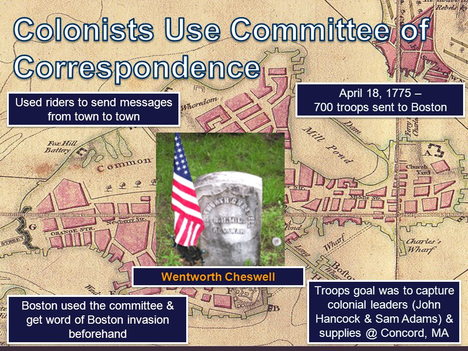 April 18, 1775 – 700 troops sent to Boston April 18, 1775 – 700 troops sent to Boston Troops goal was to capture colonial leaders (John Hancock & Sam Adams) & Concord, MA Boston used the committee & get word of Boston invasion beforehand Used riders to send messages from town to town Wentworth Cheswell
