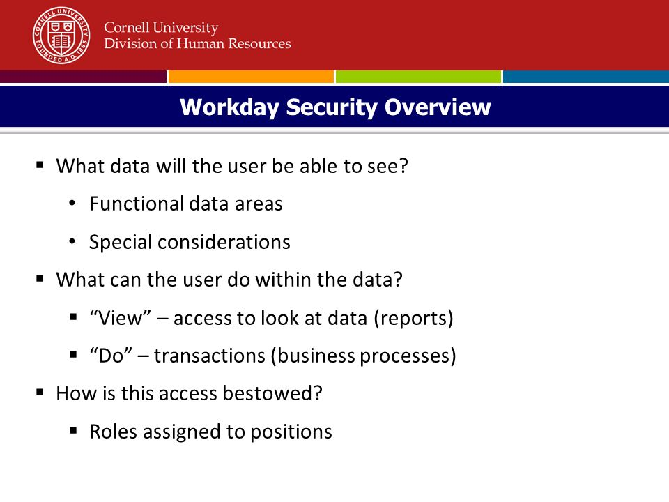 Workday Security Overview May  What data will the user be able to