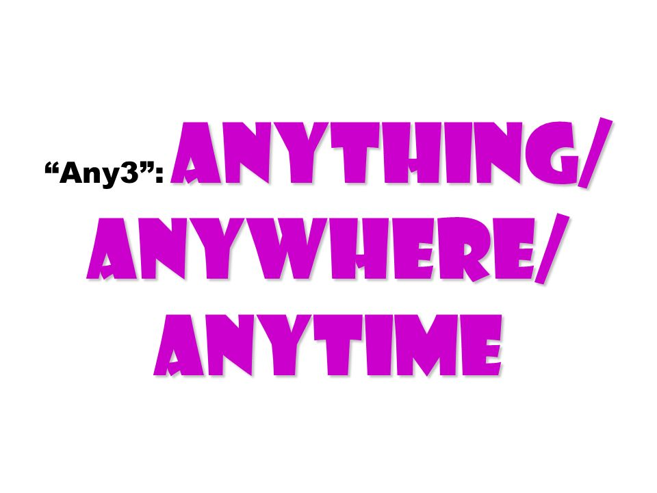 Anything/ Anywhere/ Anytime Any3 : Anything/ Anywhere/ Anytime
