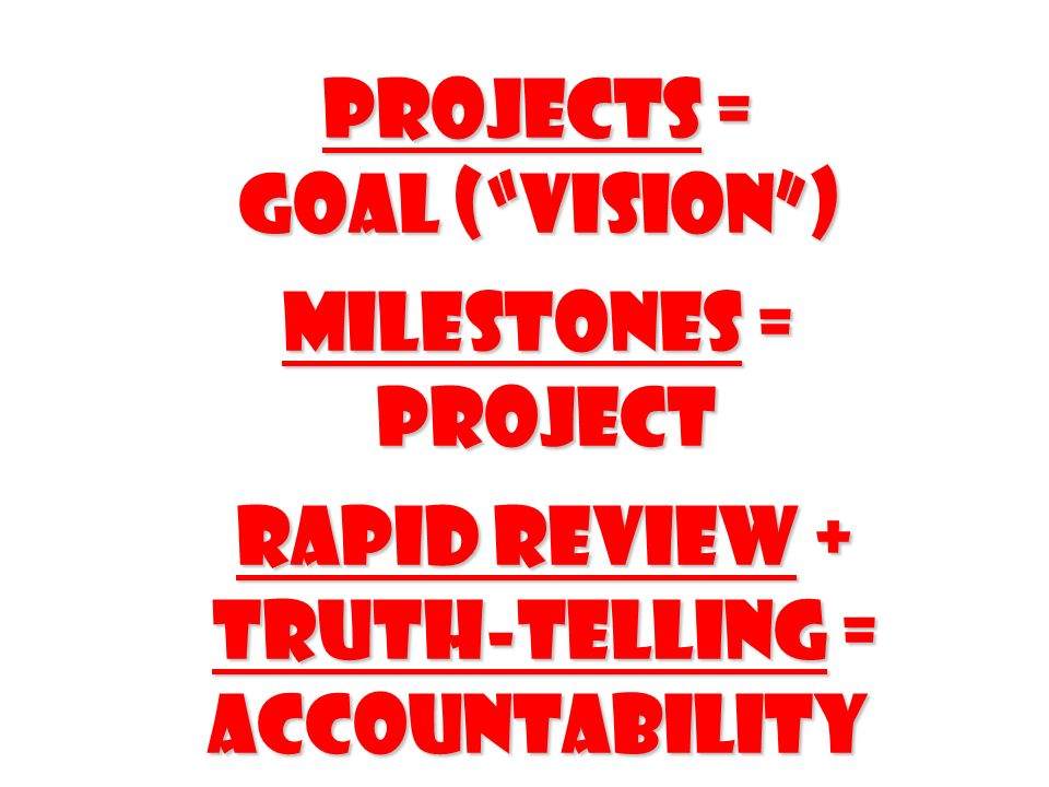 Projects = Goal ( Vision ) Milestones = Project Rapid Review + Truth-telling = accountability