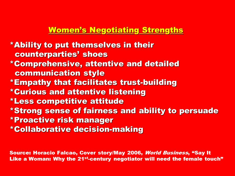 Women's Negotiating Strengths *Ability to put themselves in their counterparties' shoes *Comprehensive, attentive and detailed communication style *Empathy that facilitates trust-building *Curious and attentive listening *Less competitive attitude *Strong sense of fairness and ability to persuade *Proactive risk manager *Collaborative decision-making Women's Negotiating Strengths *Ability to put themselves in their counterparties' shoes *Comprehensive, attentive and detailed communication style *Empathy that facilitates trust-building *Curious and attentive listening *Less competitive attitude *Strong sense of fairness and ability to persuade *Proactive risk manager *Collaborative decision-making Source: Horacio Falcao, Cover story/May 2006, World Business, Say It Like a Woman: Why the 21 st -century negotiator will need the female touch
