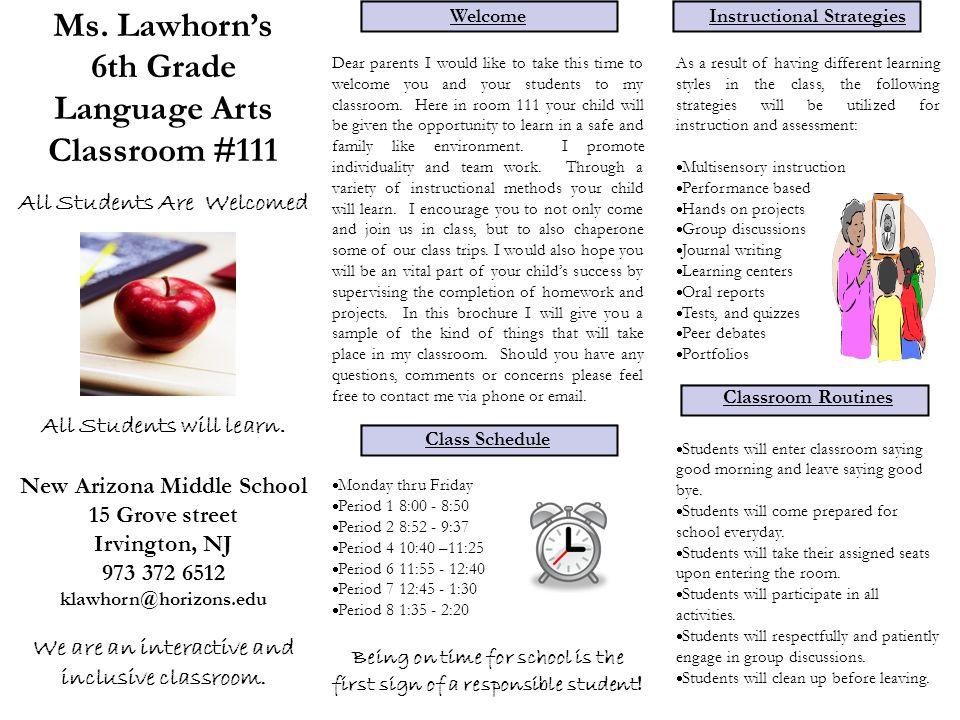 Ms Lawhorns 6th Grade Language Arts Classroom 111 All Students