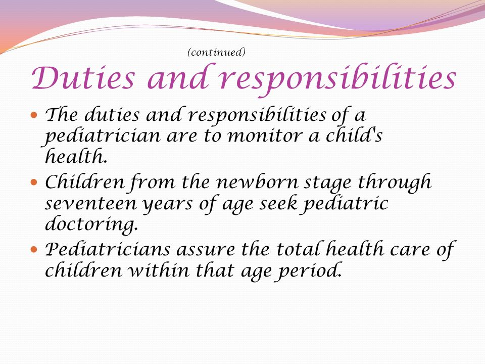 pediatrician responsibilities