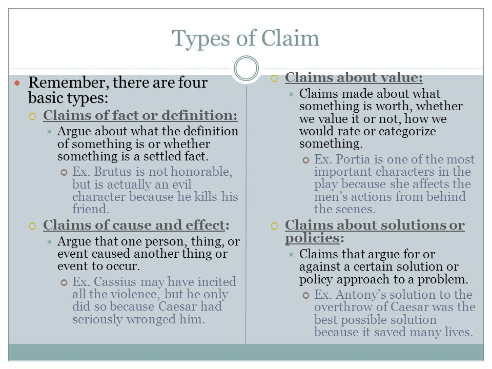 types of claims in argument