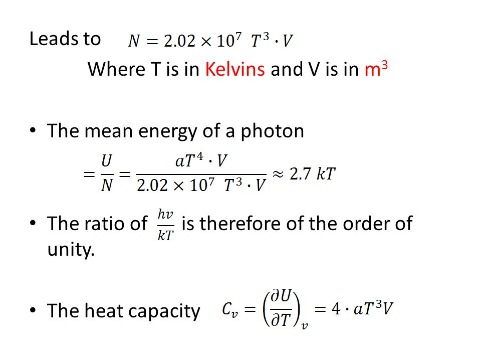 Photon Statistics Blackbody Radiation 1 The energy loss of a hot