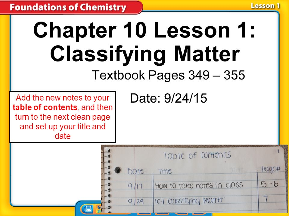 Chapter 10 Lesson 1 Classifying Matter Textbook Pages 349 355