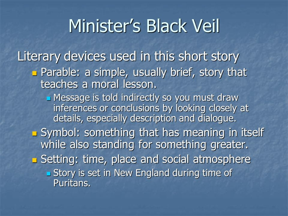 allegory in the ministers black veil