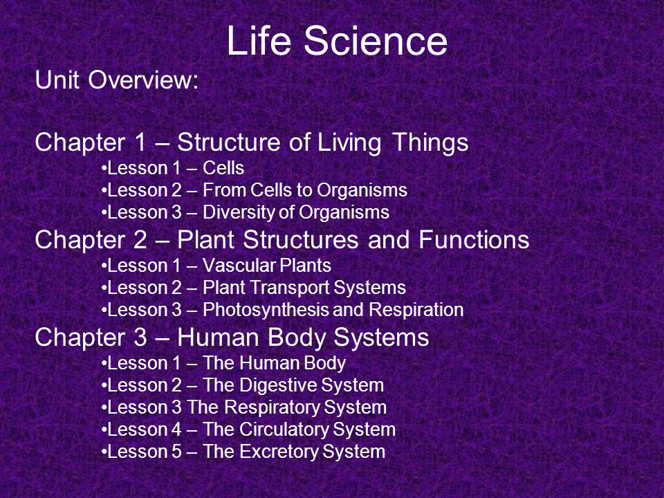 life science unit overview chapter 1 structure of living things