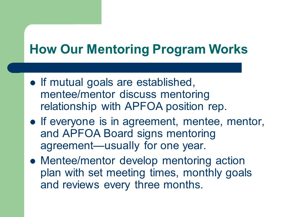 Apfoa Mentoring Program Keeping Apfoa Strong At The End Of This