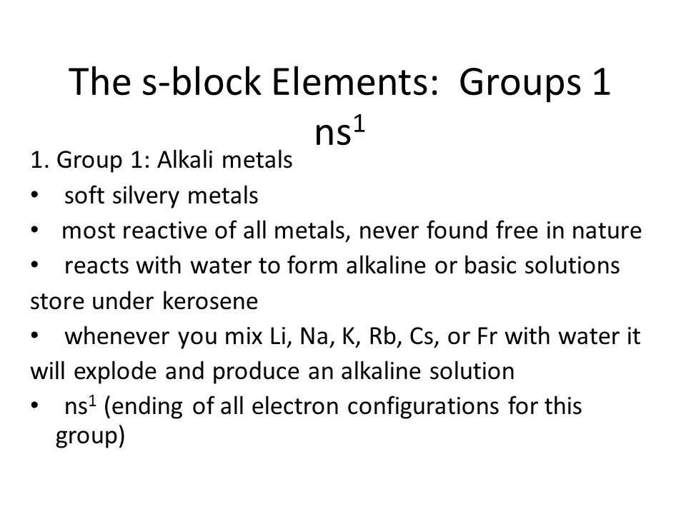The modern periodic table trends agenda lesson ppt handouts 1 the s block elements groups 1 ns 1 1 urtaz Images