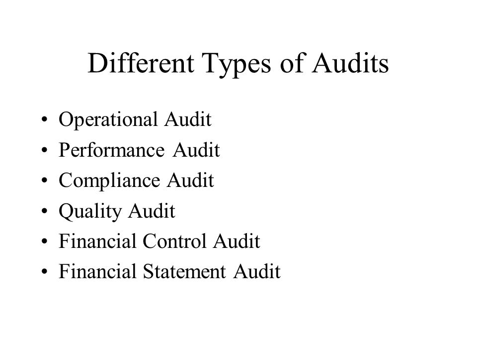 Audit Applications Chapter 16  Different Types of Audits
