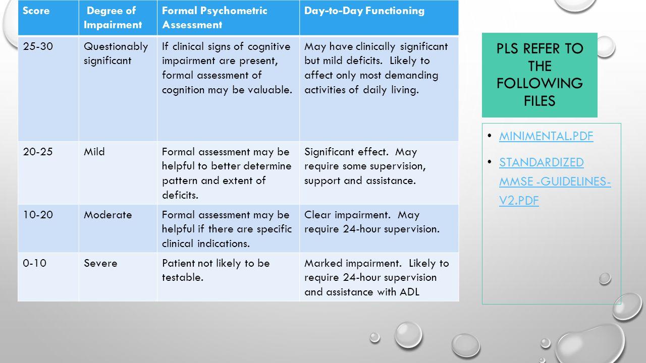 Mini Mental Status Test Pdf