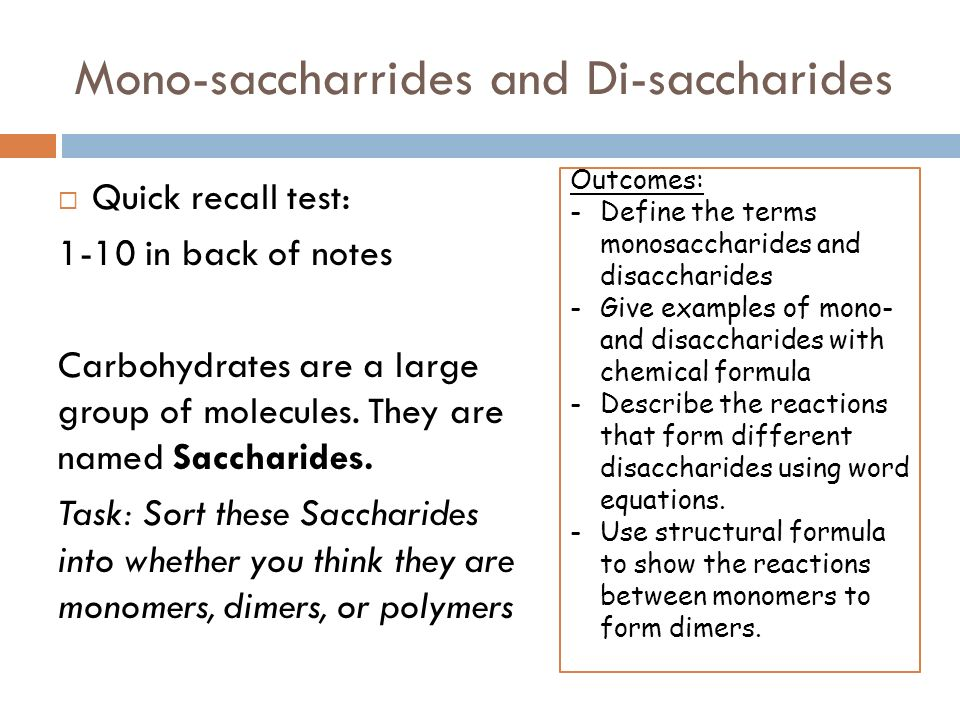 Carbohydrates Monomers Monosaccharides Are The Monomers From Which