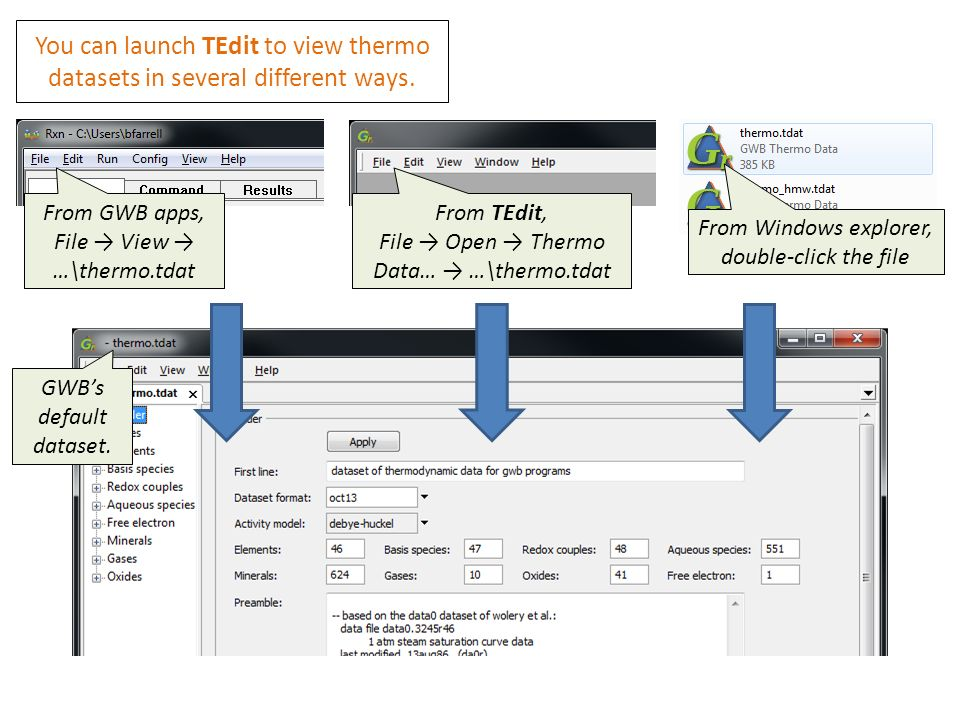 Viewing thermo datasets in TEdit  From GWB apps, File
