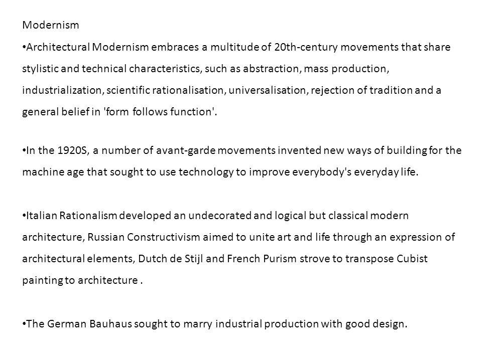 MODERN 1930 Bauhaus to International Style.. Modernism Architectural ...