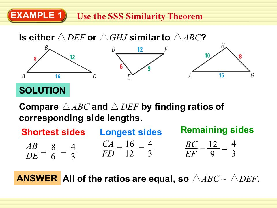6 5 Prove Triangles Similar By Sss And Sas Geometry Ms Rinaldi